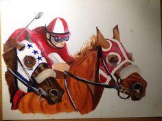 Race horses, oil paint a4