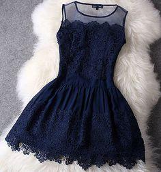 Lace Dress In Navy Blue
