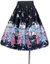 Vintage 50s NOVELTY PRINT Border Print Full Skirt Paris Painters Street Scene