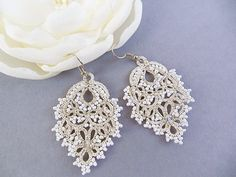 Wedding lace jewelry, bridal tatting earrings, tatted filigree lace, tatted lace accessory, white tatting jewelry, handmade frivolite