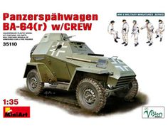 The MiniArt German Panzerspahwagen BA-64(r) with Crew in 1/35 scale from the plastic armoured car models range accurately recreates the real life Russian armoured car captured and pit into service by Germany during World War II.