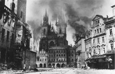 May 1945 - Old Town in fire - Prague Uprising against German Nazi occupation of Czechia. Old Pictures, Old Photos, Prague Photos, Dramatic Photos, Prague Czech Republic, Old Town Square, Old Photography, Historical Pictures, World War Two