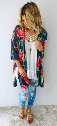 Stole My Heart Kimono: Multi (Tenue Fitness Femme) Chic Summer Outfits, Spring Summer Fashion, Casual Outfits, Cute Outfits, Fashion Outfits, Fashion Trends, Jeans Fashion, Outfit Summer, Luxury Fashion