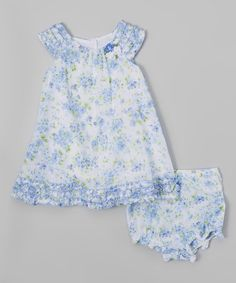Another great find on #zulily! Blue & White Floral Shift Dress & Diaper Cover - Infant #zulilyfinds