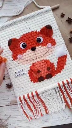 Crochet Wall Art, Crochet Wall Hangings, Crochet Fox, Tapestry Crochet, Crochet Hooks, Macrame Patterns, Loom Patterns, Easy Crochet Patterns, Amigurumi Patterns