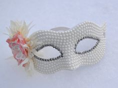 White Pearl Masquerade Bridal Mask wedding by creatingwithni