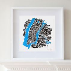 Map of New York City Central   (1st colour edition)    Details  Limited colour edition of 100  Each signed and numbered   Format: 38cm x 38cm  Colour: anthracite / sky blue  Paper: silk screen print on Fabriano 5 printmaking paper  £72