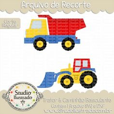 Tractor & Dump Truck, Trator & Caminhão Basculante, Brinquedo, Toy, Menino, Boy, Bebê, Baby, Babe, Construção, Transporte, Construction, Transport, Cavadeira, Spade, Corte Regular, Regular Cut, Silhouette, DXF, SVG, PNG