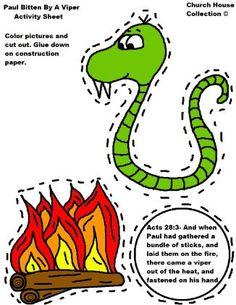Paul Bitten by viper cutout sheet Paul Crafts for Sunday school