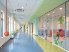 "PHOTO TOUR: Aiyuhua Hospital for Children and Women in Beijing | Healthcare Design --- The design concept of ""children's favorite places"" was developed for the pediatrics tower. Elements of the sky, garden, play, forest, beach, and space were used and correlated with the floor colors. Photo: Blake Marvin/HKS Inc."
