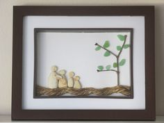 Ceramic Family of Four Sea Glass Art - Ceramic Pottery Art Genuine Seaglass    This creative family tree is made with 9 pieces of ceramic sea