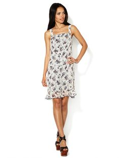 Anna Sui Floral Melody Mixed Silk Dress
