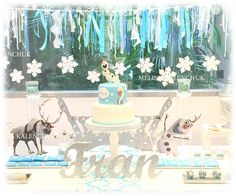 Fantastic Frozen birthday party dessert table! See more party planning ideas at CatchMyParty.com!
