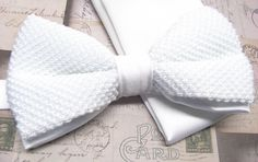 Mens Knitted Bowties. White Men's Knit Bow Tie by TieObsessed