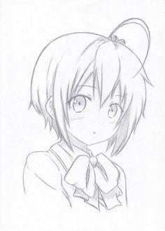 Sketching by on DeviantArt Anime Drawings Sketches, Dark Art Drawings, Anime Sketch, Kawaii Drawings, Cute Drawings, Kawaii Anime Girl, Anime Art Girl, Manga Art, Pelo Anime
