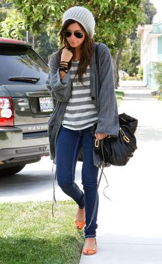 Ashley Tisdale sporting the grey & white stripes. Ashley Tisdale, Cute Fashion, Look Fashion, Womens Fashion, Fall Outfits, Cute Outfits, Casual Outfits, School Fashion, Types Of Fashion Styles