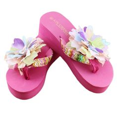 AMA(TM) Women Summer Casual Platform Flip Flops Thong Wedge Beach Sandals -- Find out more about the great product at the image link.