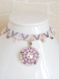 Necklace beads pastel pink and silver plated pearls and