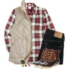 J.Crew holiday plaid with vest & duck boots