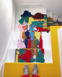 Funky Rugs, Staircase Runner, White Staircase, Stair Runners, Shaw Carpet, Carpet Installation, Artistic Installation, Décor Boho, Aesthetic Rooms