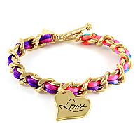 Neon Satin Cord with Love Charm Intertwined Chain Bracelet