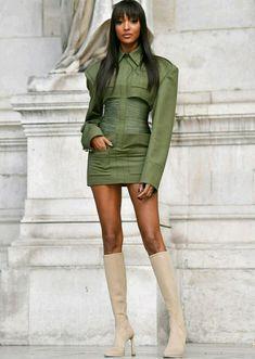 Jourdan Dunn looks sensational in khaki cut-out dress in Paris Green Fashion, High Fashion, Paris Fashion, Jourdan Dunn, French Models, Leather Blazer, Dress Cuts, Types Of Sleeves, Celebrity Style