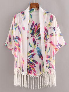 Kimono en mousseline motif plume - blanc -French SheIn(Sheinside)