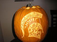 .MJW2009 Michigan State Spartans pumpkin carved by Maranda Winchester 2009