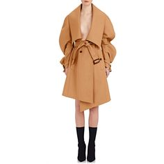 Burberry X Barneys New York Women's Asymmetric Double-Faced Wool Wrap... ($2,695) ❤ liked on Polyvore featuring outerwear, coats, tan, oversized coat, asymmetrical coat, oversized wool coat, wool coat and woolen coat