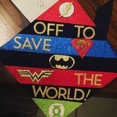 Love this #superhero themed grad cap design // follow us @motivation2study for daily inspiration