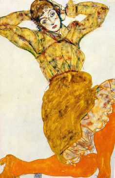 Egon Schiele, Woman with Orange Stockings, 1914