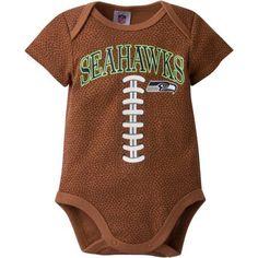 NFL Seattle Seahawks Baby Boys Football Print Bodysuit, Infant Boy's, Size: 0 - 3 Months, Brown