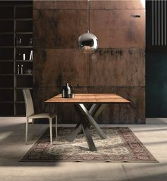 Table à manger rectangulaire en acier inoxydable et bois SHANGAI | Table en acier inoxydable et bois - RIFLESSI