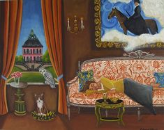 art, paintings by catherine nolin, interior scenes, rooms with a view, pink mansion