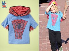 Official Junk Food Clothing Blog - Junk Food Tees - Retro and Vintage Tees: ANOTHER MINATURE HERO!  Bronx Wentz LOVES his Spiderman superhero hoody!  @ GAP kids