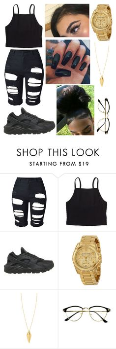 """black n gold 😍"" by fashion-1407 on Polyvore featuring Aéropostale, NIKE, Michael Kors and Rebecca Minkoff"