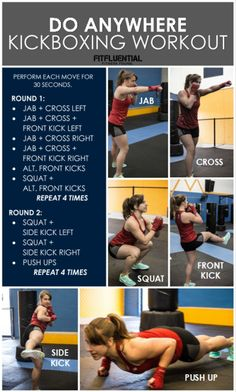 If youve got fitness goals you should fight for them literally! Unleash your inner warrior and switch up your workout with this do-anywhere kickboxing routine. Kickboxing is a total body workout that incorporates strength and cardio torches calories Fitness Workouts, Fitness Goals, At Home Workouts, Fitness Motivation, Health Fitness, Workout Routines, Workout Ideas, Workout Plans, Easy Fitness