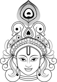 Beautiful Outline Drawing Indian Lord Krishna .He was the founder of Indian epic Bhagvadgeeta .This is Single layer and very easy to use.