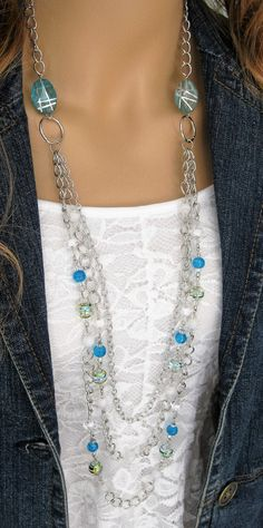 Long Blue Beaded Necklace Long Beaded Necklace by RalstonOriginals