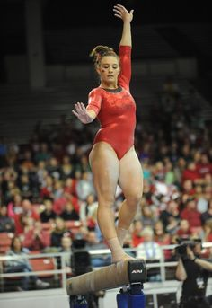 during a match with Alabama in Barnhill Arena in Fayetteville. Olympic Swimmers, Olympic Gymnastics, Olympic Sports, Gymnastics Girls, Gymnastics Photography, Gymnastics Pictures, Athletic Events, Hot Cheerleaders, Female Gymnast