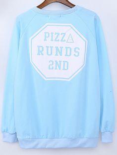 Blue Round Neck Letter Print Embroidered Sweatshirt