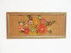 Refurbished Framed Raffia Flower Wall Art by SheerTrashRoadshow