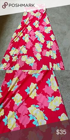 Skirt Red skirt with yellow and green flowers LuLaRoe Skirts Maxi