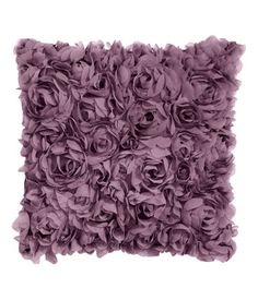 Heather purple. Satin cushion cover with decorative chiffon flowers and concealed zip. Size 16 x 16 in.