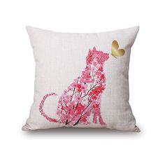 Elliot_yew Beautiful Watercolor Pink Floral Animals Print Cotton Linen... ($6.78) ❤ liked on Polyvore featuring home, home decor, throw pillows, pink accent pillows, floral throw pillows, watercolor throw pillows, floral home decor and cat home accessories