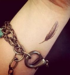 Grey Ink Feather Wrist Tattoo For Girls