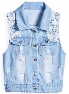Blue Lapel Sleeveless Lace Ripped Denim Outerwear pictures