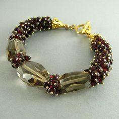 Sale Garnet and Smoky Quartz  Cluster Bracelet by SurfAndSand, $74.50