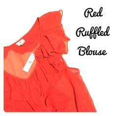 NWT Red Ruffled Plus Size Blouse - Size 3X Beautiful blouse by Worthington Woman, brand new and with tags. Red color and ruffles down the front and around the neck/collar, with a red rose in the front as well. The top is sheer and comes with a cami in the same color to be worn underneath. Size 3X, fits true to size. Worthington Tops Blouses
