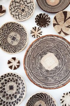 African basket wall art installation created from baskets I gathered in Zambia, South Africa, Namibia, and Botswana- inspo 4 ceramics Rattan, Wicker, Deco Boheme, African Design, African Interior Design, Baskets On Wall, Wall Basket, Woven Baskets, Home And Deco